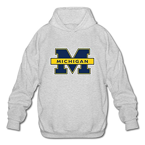 Jeff Hombres de NCAA Michigan Wolverines Logo Manga Larga Sudadera Sudaderas con capucha (US Tamaño)