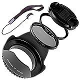 Lumos Zubehör Filter-Set 58mm für Canon EOS Objektiv EF-S 18-55 55-250 EF 75-300 85mm 1.8 | Gegenlichtblende UV Filter CPL Polfilter Objektivdeckel