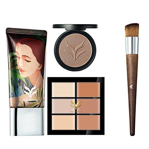 Sharplace 1 Kit Outils de Maquillage Cosmétique Palette Correcteur Cache Cernes + Pinceau Cosmétique + Crème de Fondation + Poudre Fond de Teint