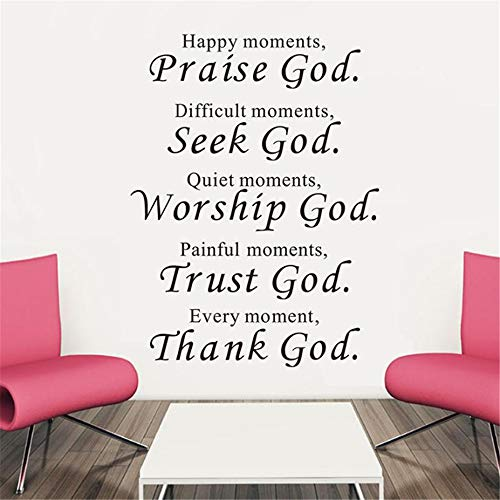 stickers muraux chambre bébé fille stickers muraux voiture 3d Happy moments Praise God Difficult moments Seek God Quiet moments Worship God Bible Verse Religious Wall Decal