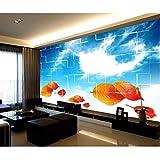 Guyuell Wand-Wohnzimmer-Wandaufkleber Der Blauen Tapete Des Blauen Himmels Der Fototapete Der Kundenspezifischen Größe Der Fotowand Malerei Fernsehhintergrundwandtapete-450Cmx300Cm