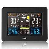 FanJu FJ3365B Funkwetterstation mit Weckfunktion und Temperatur/Feuchte/Barometer/Wecker/Uhr/Mondphase/Wetterstation Funk mit Außensensor