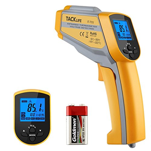 Tacklife IT-T05 Thermomètre Infrarouge Sans Contact avec Double Laser Testeur Thermomètre de -50°C à 550°C Alarme Haute/ Basse Température Émissivité Réglable et Mesure Max / Min / Moyenne/Différence avec Écran LCD Rétroéclairé et Pile 9V Fournie