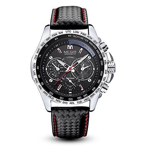 Megir pour homme militaire Chronomètre Bracelet cuir noir Sport montres à quartz avec Gorben Box