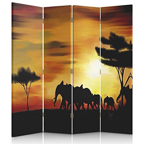 Raumteiler Frames (Feeby Frames Raumteiler Ggedruckten aufCanvas Leinwand Wandschirme dekorative Trennwand Paravent einseitig 4 teilig (145x150 cm) Ansicht DIE WANDERNDE Elefanten Sonnenuntergang SCHWARZ ORANGE)