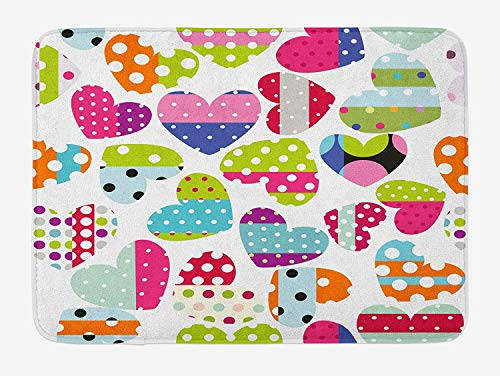 OQUYCZ Colorful Bath Mat, Heart Shapes with Patches and Polka Dots Cute Cheerful Pattern Design Artwork, Plush Bathroom Decor Mat with Non Slip Backing, 23.6 W X 15.7 W Inches, Multicolor Patch-magic Fox