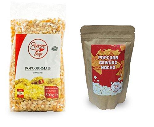 """Preisvergleich Produktbild Popcornloop Premium Popcornmais 500g + Gewürz """"Nacho"""" 150g,  Neuer & Leckerer Geschmack für ihr Popcorn!. Selbst Frisch Zubereiten - Ein Gesunder Snack - Individuell Würzen - Einfach Lecker - Popcorn wie im Kino! ..."""