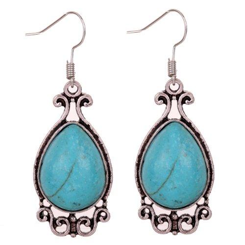 yazilind-jewellery-special-design-ethnic-tibetan-silver-teardrop-turquoise-dangle-earrings
