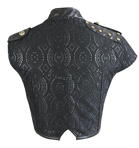 Charmian Women's Steampunk Gothic Lace Brocade Corset Shrug Nero