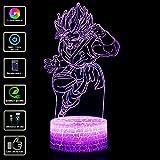 3D illusione Lampada Luce Notturna NHSUNRAY LED 7 colori cambia Lampada da Touch per la decorazione domestica della camera da letto Compleanno di nozze Natale e regalo di San Valentino(Dragon Ball C)
