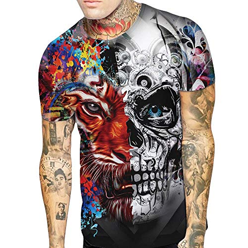 Angebote 2019, Herren T-Shirt Liebhaber Schädel Tiger Männer Tees Shirt 3D Kurzarm T-Shirt Bluse