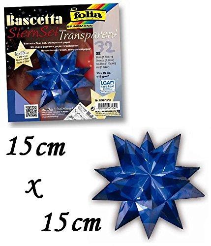 Bascetta Stern Bastelset Transparentpapier 115g/m² 15x15 cm 32 Blatt blau Folia 836/1515