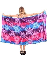 La Leela rayonne douce main cravate colorant bande de plage bikini couvrir sarong 78x43 pouces