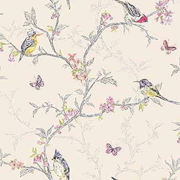 Holden Decor - Papier Peint Fantaisie Beige 98082 Phoebe Papillon Arbres WEn Fleurs Oiseaux