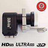 Für Nachrüstung von Kathrein - Spiegeln : Dur-line +Ultra Quad LNB 0,1 dB + LNB Adapter für Kathrein Spiegel; für HDTV, UltraHD, 3D; Neuste LNB-Generation mit LTE/DECT-Filter; für direkten Anschluss an 4 Teilnehmer