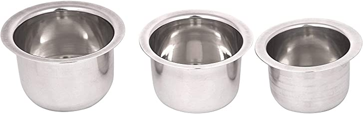 Sharda Metals Set of 3 Stainless Steel Serving Vati Curry Bowls, Silver