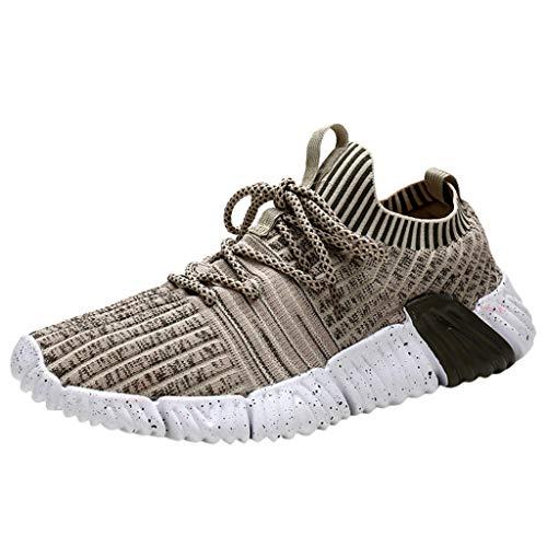 Floweworld Herren Low-Top Sneakers Fashion Solid Color Fly Woven Atmungsaktive Schnürschuhe Laufen im Freien Sportschuhe Freizeitschuhe