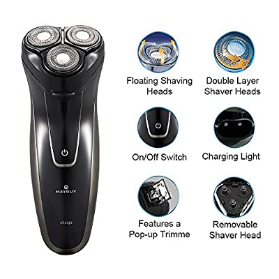 MAYBUY Men's Electric Rotary Shaver Cordless Electric Shaving Razor Rechargeable Electric Razor with Pop-up Trimmer for Men MB3067 Black
