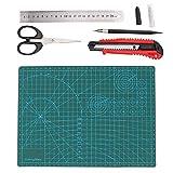 5pcs tappetino da taglio A4 nero/verde tagliere in PVC intaglio coltello utilità coltello in acciaio righello forbice per mestiere(Green)