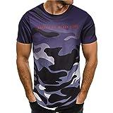GreatestPAK Herren Camouflage Brief Drucken Sport Kurzes T-Shirt,Lila,XXL