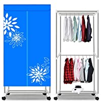 Household Quick-drying Clothes Dryer, Silent Power-saving Multi-function Dry Hanger Heater, 1000W (Color : Blue, Size : With casters)
