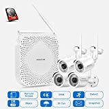 PRIKIM W6 Sistema di telecamere di sicurezza wireless con disco rigido 1T Video NVR WiFi 1080P con 4 telecamere IP Mini Bullet wireless Visore notturno IP66 impermeabile per sorveglianza domestica