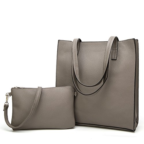 Toupons Große Damen Tragetaschen Damen PU-Leder Handtasche Schultertasche (grau) (Tragetasche Tasche Leder)