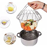 PETRICE 12 In 1 Kitchen Tool For Cooking Deep Fry Boiling Steaming Poaching Blanching Cooking Colander Straining Rinsing Draining Storing Solid Steel Dishwasher Safe Folds Flat For Easy Storage