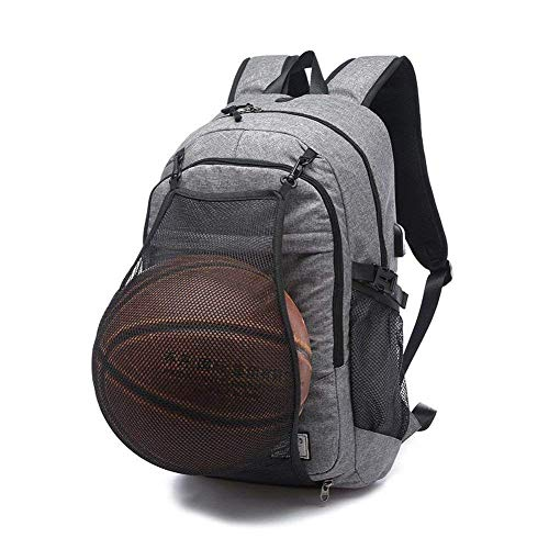 VISTANIA Basketball Rucksack USB Charge Schultasche Wasserdichter Laptop Sport Tasche + Ballnetz,Gray