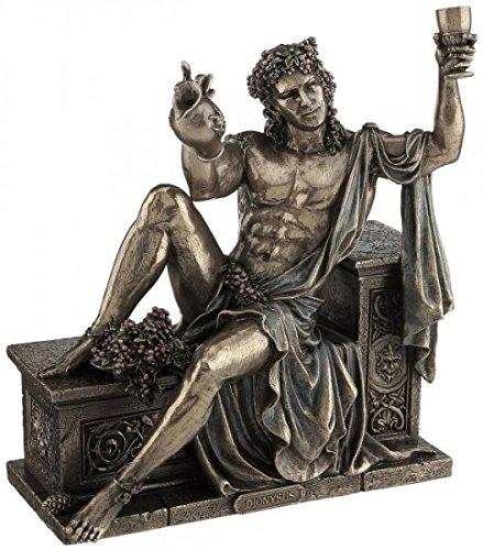 Figur Dionysos griechicher Gott des Weines mit Weinkrug bronziert Skulptur Weintraube -