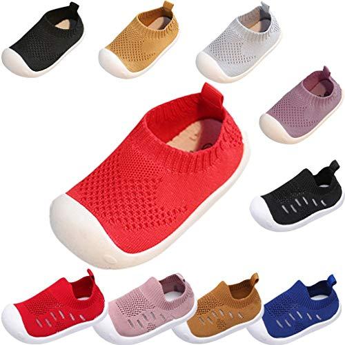 Sandalen für Kinder/Dorical Sommer Unisex Baby Jungen Mädchen Lauflernschuhe Fliegendes Weben Schuhe Mesh Atmungsaktiv Sportschuhe Freizeitschuhe Krabbelschuhe mit Weiche Sohle(Rot,18-24 Monate)