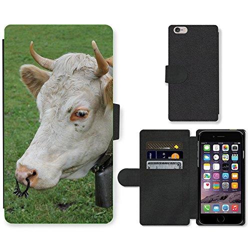 Just Mobile pour Hot Style Téléphone portable étui portefeuille en cuir PU avec fente pour carte//m00139086Vache Cowboy Bétail Lait Vache Animal//Apple iPhone 6Plus 14cm