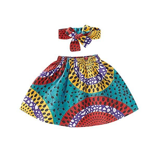 QinMMROPA Falda Africana de bebé niña Conjunto de Ropa de Diadema Falda de Estilo étnico 3