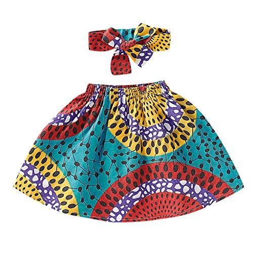 Ethnischen Kostüm Kinder - INLLADDY Skirt Baby Mädchen Ethnischen Stil Farbe Persönlichkeit Rock Tutu Rock Prinzessin Minirock Baby + Stirnband Blau 100