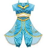 Tacobear Jasmin Kostüm Kinder Prinzessin Jasmin Kleid für Mädchen Karneval Verkleidung Halloween Party Prinzessin Cosplay Kostüme (6-7 Jahre)