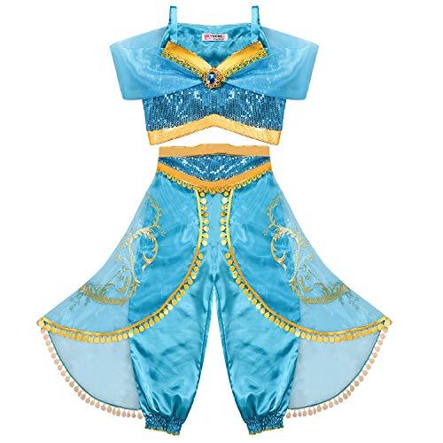 Tacobear Jasmin Kostüm Kinder Prinzessin Jasmin Kleid für Mädchen Karneval Verkleidung Halloween Party Prinzessin Cosplay Kostüme (6-7 ()
