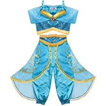 2c6241290 Tacobear Disfraz Jasmine Niña Princesa Jasmine Vestido Traje Princesa  Jasmine para Halloween Cosplay Fiesta Carnaval (