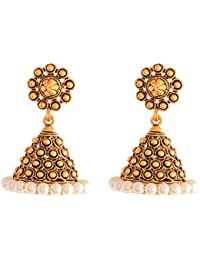 Ganapathy Gems Antique Gold Plated Jhumki With Pearls (8618) 8618