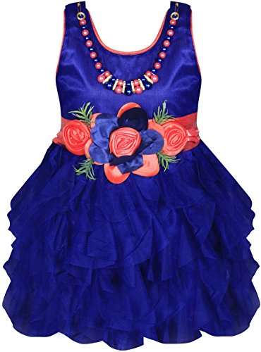 Cute Fashion Kids Girls Baby Dress for Princess Satin and Sifone Net Party Wear Frock Dresses Clothes for 3 Months to 3 Years (Blue, 6-12 Months)