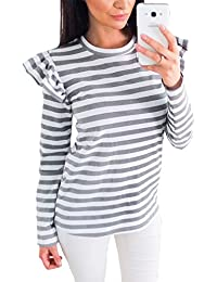 Mujer Camisas Manga Larga Elegante Rayas Round Collar Blusa T-Shirt
