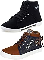 Ethics Men's Perfect Combo Pack Of 2 Synthetic Casual Sneakers Shoes - Multicolour (9)