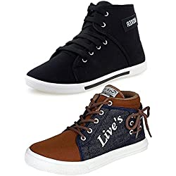 Ethics Men's Perfect Combo Pack Of 2 Synthetic Casual Sneakers Shoes - Multicolour (8)