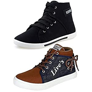 Ethics Men's Perfect Combo Pack Of 2 Synthetic Casual Sneakers Shoes – Multicolour (9)