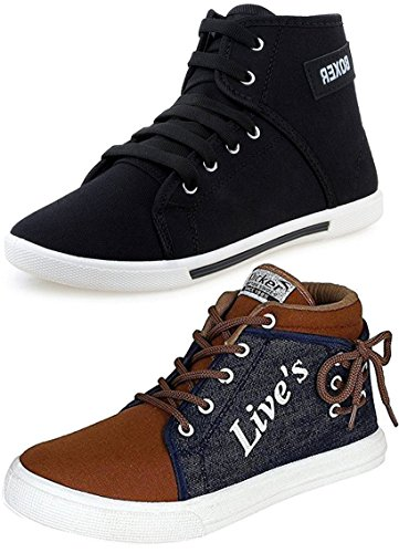 Ethics Men's Perfect Combo Pack Of 2 Leather Casual Sneakers Shoes -...