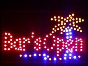 nled107-r Bar is OPEN Plam Tree Beer LED Neon Sign (40.6cm x 25.4cm) Neonlicht Lichtwerbung