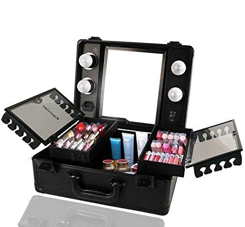 Kemier Borsa Makeup da Viaggio - Borsa Makeup con Organizer,Luci e Specchio Borsa Makeup con Divisori Personalizzati Ampio Kit Organizzatore per Truccatori ... (Nero)