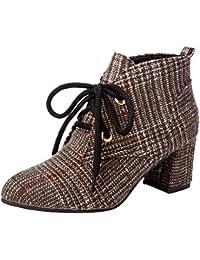 Zapatos de tacón de Lona a Cuadros de Moda para Mujer Botas de tacón Grueso con
