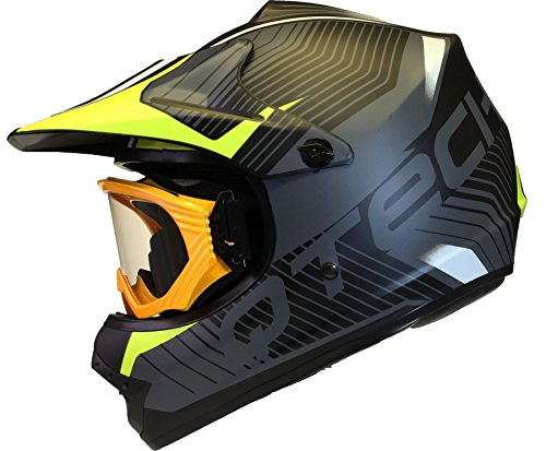 KINDER cross HELM und Schutzbrille Goggles MX BMX Quad ATV Motorradhelm Motorrad - Gelb - L (57-58cm)