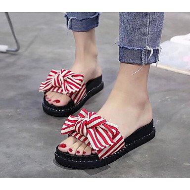 RTRY Donna Pantofole &Amp; Flip-Flops Comfort Floccaggio Molla Pu Informale Comfort Ruby Nero 2A-2 3/4In US8 / EU39 / UK6 / CN39
