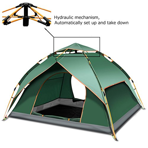 Feeyoo istantanea pop up tenda da campeggio 3-4 persone, 3 stagioni impermeabile anti uv automatica tenda per viaggi all'aperto,escursionismo,pesca (240 * 210 * 135cm)